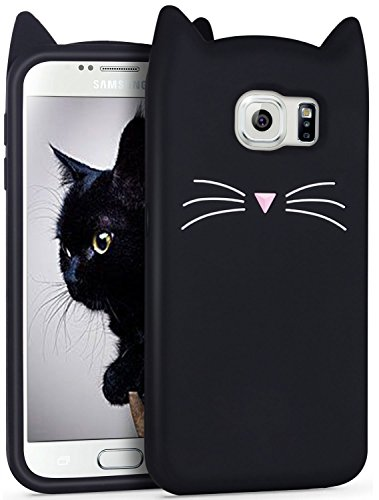 Mulafnxal Case for Samsung Galaxy S6,Soft Silicone 3D Cartoon Animal Cat Slim Cover, Cute Cases Kids Girls Shock Proof Rubber Gel Kawaii Character Fashion Protector for Samsung S6 Black Cat