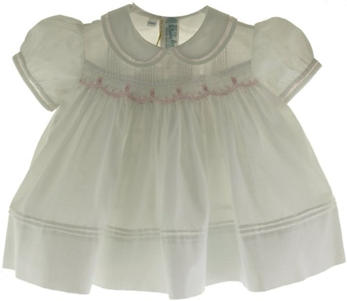 Feltman Brothers Newborn Girls White Smocked Dress with Pink Flowers - NB ()