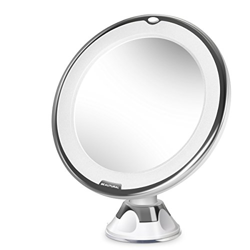 Beautural 10X Magnifying Lighted Vanity Makeup Mirror with Natural White LED, 360 Degree Swivel Rotation and Locking Suction -