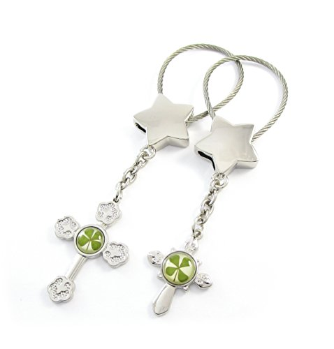 Genuine Four-leaf Lucky Clover Crystal Amber Engravable Key Chain, Cross Themed Valentines Keychains, Crosses 4 Protection! (1. Lucky Stars)