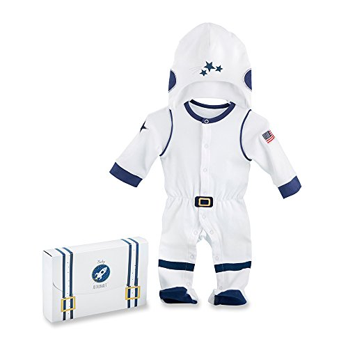 Baby Aspen Big Dreamzzz Baby Astronaut 2 Piece Layette Set, White/Blue/Yellow/Red]()
