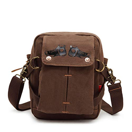 Bolsa Lona Messenger colore Coffee Waveni Retro De Hombro Bag Color Simple Armygreen Mens Cremallera Casual 4qH4Y0