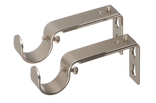 Ivilon Adjustable Brackets for Curtain Rods - for 1 or 1 1/8 Inch Rods. Set of 2 - Satin Nickel