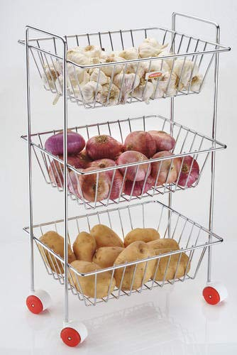 Ultra Zon Steel Fruit Vegetable Basket Kitchen Rack Trolley With Tiers And 3 Section Home Storage Amazon In Home Kitchen