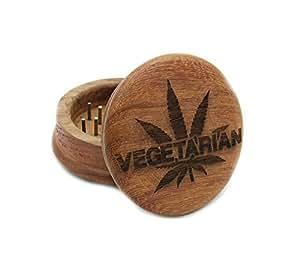Two Piece Vegetarian Marijuana Leaf Laser Carved Wooden Herb, Spice or Tobacco Pollen Grinder