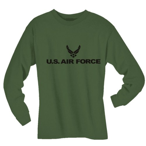 Air Long T-shirt Force Sleeve (Air Force Long Sleeve T-Shirt in military green - Medium)