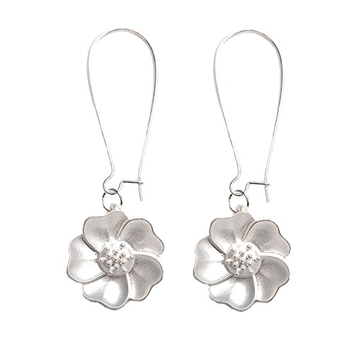 - bjduck99 Women Elegant Flower Drop Dangle Hook Earrings Wedding Bridal Party Jewelry Gift - Silver
