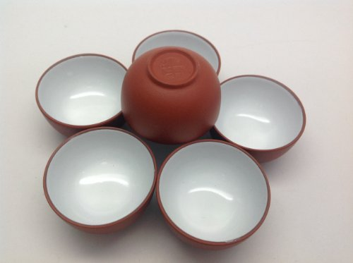Yixing Clay - Chinese Tea Tasting Cup 6pcs Red Purple Half Oz Yixing Clay Tea Cups