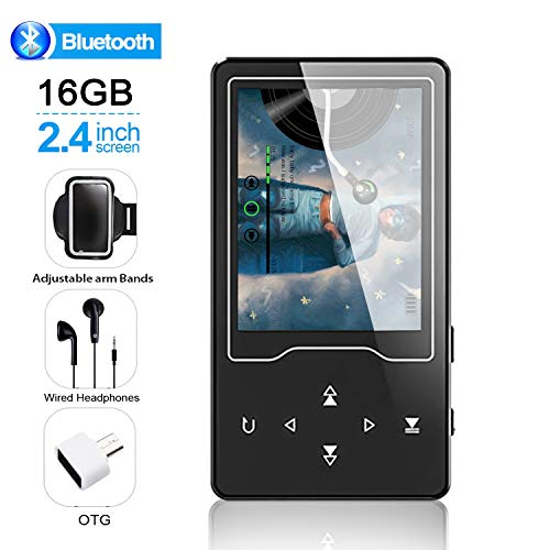MP3/MP4 Player, 16GB Bluetooh Music Player 2.4″ Large Screen Hi-Fi Stereo Sound Music Player with Touch Buttons Support FM Radio, Voice Recorder, Video Play, Text Reading(Wired Headphones Included)