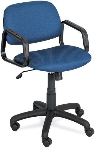 Safco 3451BU Cava Collection Mid-Back Swivel/Tilt Chair, Black Frame, Blue Fabric