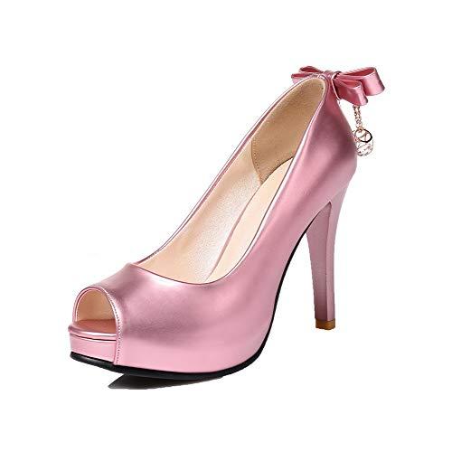 Ballet Luccichio Tirare AllhqFashion Alto Puro Rosa Flats Donna FBUIDD005825 Tacco YxSwUvU