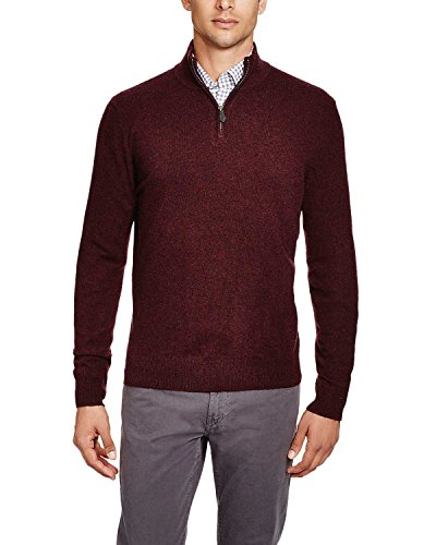 Bloomingdale's Mens 2-Ply Cashmere Half Zip Mock Neck Sweater Small S Wine