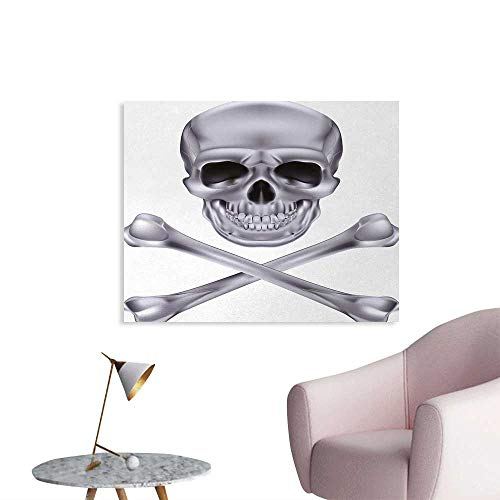 Tudouhoho Silver Poster Paper Vivid Skull and Crossbones Dangerous Scary Dead Skeleton Evil Face Halloween Theme Wall Sticker Decals Dimgray W32 xL24 -