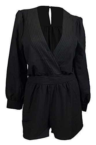 EVogues Plus Size Long Sleeve Romper Black - 1X