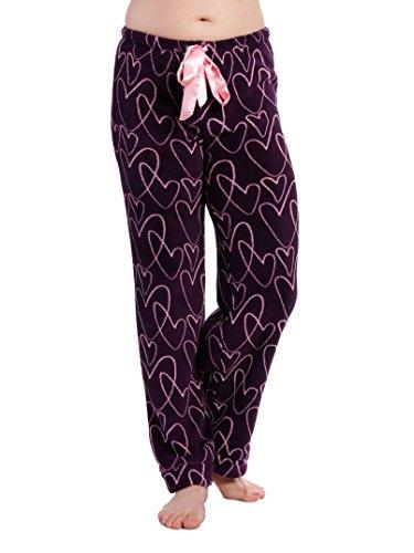 Noble Mount Women's Coral Fleece Plush Lounge Pants - Hearty Delight - Purple/Lilac - M ()