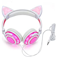 Cat Ear Headphones Glowing Lights with USB Charging Cable