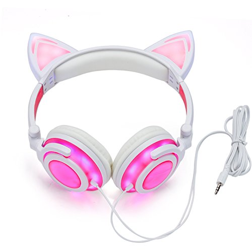 JINSERTA Cat Ear Headphones Glowing Lights with USB Charging Cable