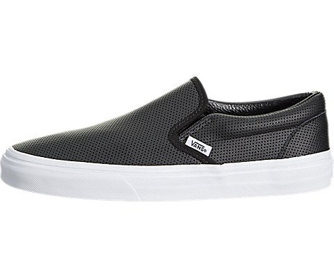 - Vans Unisex Classic Slip-On Black Leather Perforated 10 D(M) US