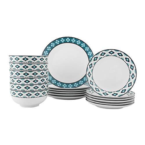 FIGULARK Dinnerware Sets for 6, Ceramics Plates 18-Piece,Elegant New Bone Kitchen Dish Set ,Chip-resistant Plates and…