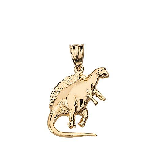 Solid 14k Yellow Gold Spinosaurus Dinosaur Charm Pendant ()