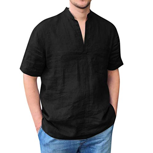 iHPH7 Tops Blouses Hawaiian Shirt Casual Button Down Short Sleeve Baggy Solid Pocket Short Sleeve V-Neck T Shirts Men (XXL,Black)]()