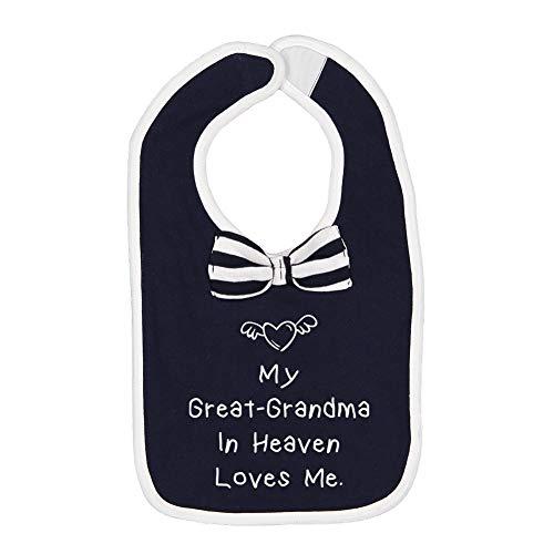 (My Great-Grandma in Heaven Loves Me - Baby Cotton Bow Tie Baby Bib (Navy/White))