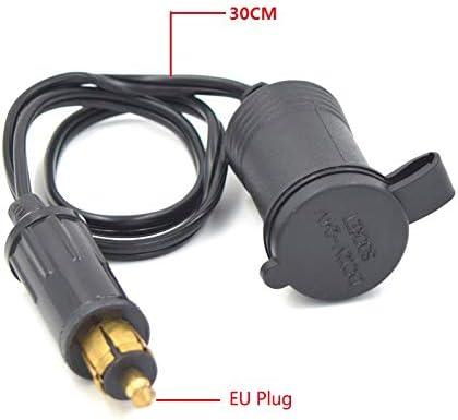 Naliovker 12V 24V pour Din Hella Chargeur de Moto Prise de Courant Convertir en Adaptateur Allume-Cigare Cable dalimentation Prise EU