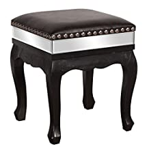 Howard Elliott Collection 13230 Ottoman, Black Faux Leather with Black Frame and Chrome Stud Detail