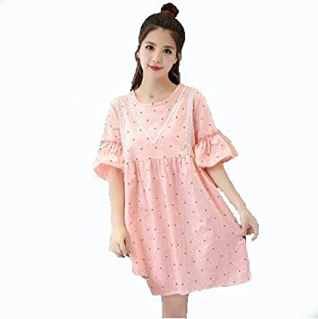 DESY Cuello redondo falda mujeres embarazadas, sección larga suelta, falda vestido impreso , pink