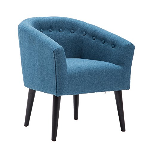 LSSBOUGHT Stylish Upholstered Button Tufted Fabric Living Room Accent Chair with Solid Wood Legs and Armrest, Blue