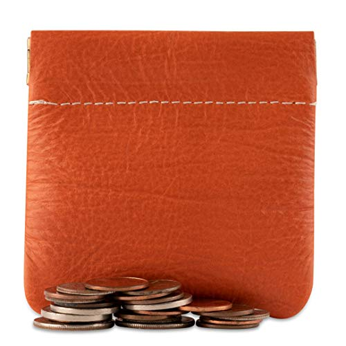 Classic Leather Squeeze Coin Purse change Holder For Men By Nabobb (Orange)
