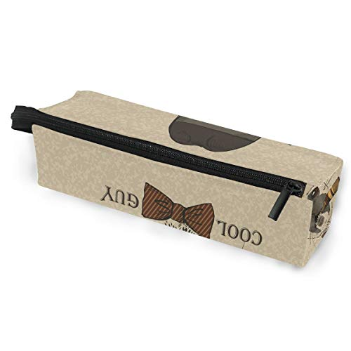 Anmarco Pug Dog with Cigar Guy Gangster Look Pencil Bag Makeup Pouch Durable Pen Stationary Organizer with Zipper for Adults Teens Girls Boys -