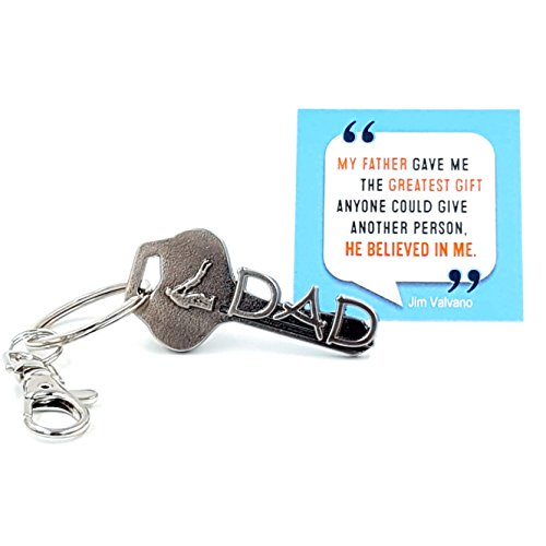 key2Bme DAD key - father daughter son keychain & inspirational quote - cool fun unique small perfect best fathers day gift idea under $10 for giving birthday new first time (Dads Key)