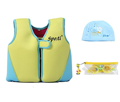 Genwiss Child's Swim Large Life Jacket 5-7 Years Yellow include Swimming Goggles and Swim Cap
