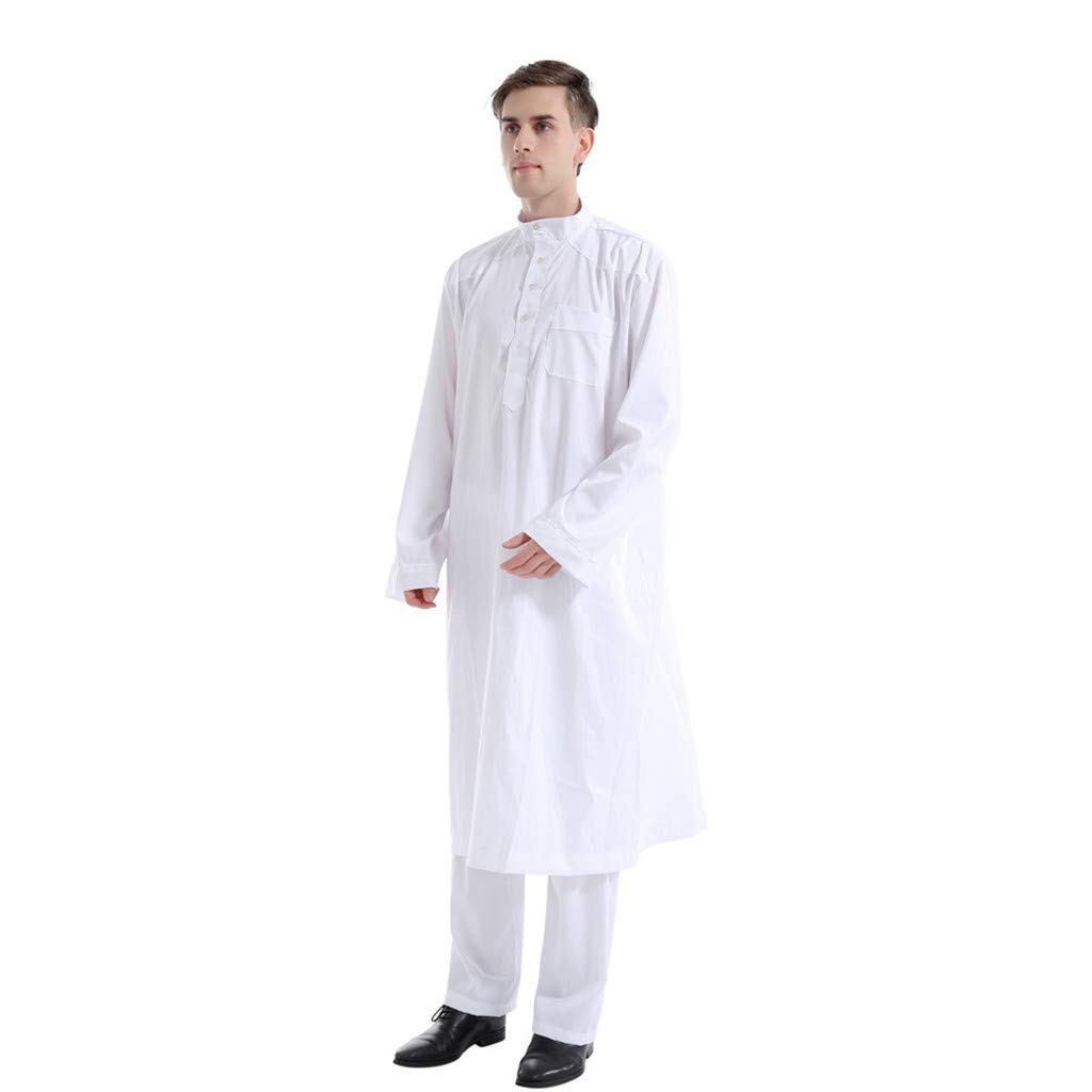 Men's Thobe with Long Sleeves Arab Muslim Islamic Ethnic Long Robes Calf Length with Pants Casual Business Kaftan Sets (XX-Large, White) by PaJau