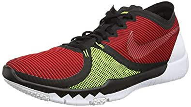 Nike Mens Free Trainer 3.0 V4 Running Shoes (Red, Black, Volt) Sz. 7