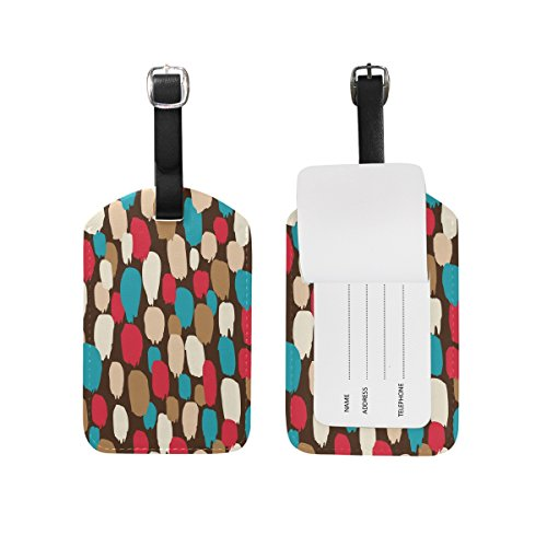 Chen Miranda Brush Strokes Pattern Luggage Tag PU Leather Travel Suitcase Label ID Tag Baggage claim tag for Trolley case Kid's Bag 1 Piece Brush Address Labels