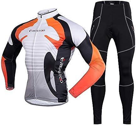 Lisansang Conjuntos de Ropa de Ciclismo Conjunto de Camisetas de Ciclismo  para Hombre para Ciclismo al Aire Libre Impermeable térmico de Invierno ... 1edd626f58c