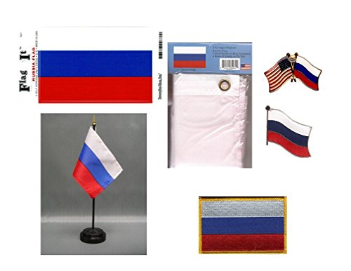 Russia Heritage Flag Pack - Includes a Russian 3x5' Flag, Vi