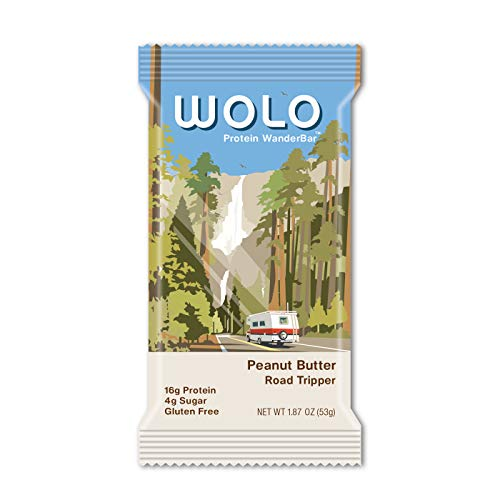 WOLO WanderBar, Peanut Butter, 12 Bars, All Natural Protein Bar, 15g Protein