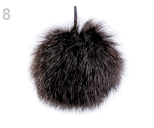 1pc 8 Blackbrown Rabbit Fur Pom Pom, Bags Accessories, Accessories Handmade, Poms and Accessories, Clothing, Footwear Decor, Haberdashery