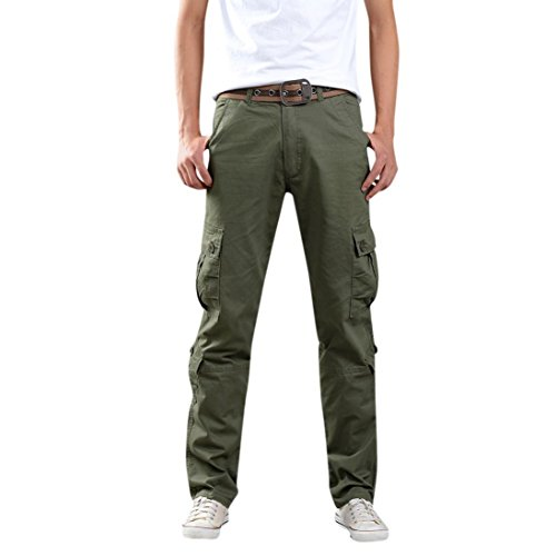 Alimao Clearance Sale Mens Camo Army Trousers Multi-Pocket Combat Zipper Cargo Waist Work Casual Ankle-Length Pants -