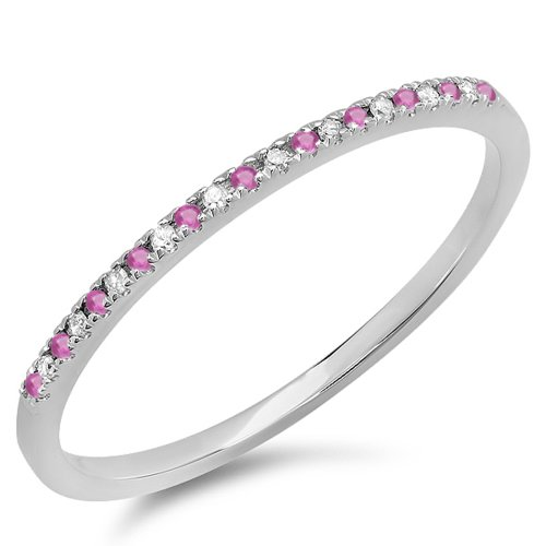 Natural Pink Sapphire Ring (14K White Gold Round Pink Sapphire & White Diamond Dainty Anniversary Wedding Stackable Ring (Size 7))