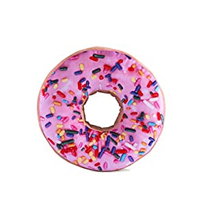 HYSEAS Round Throw Pillow 14 Inch Pink Donut, 3D Digital Print Decorative Comfortable Soft Plush Funny Food Shaped…