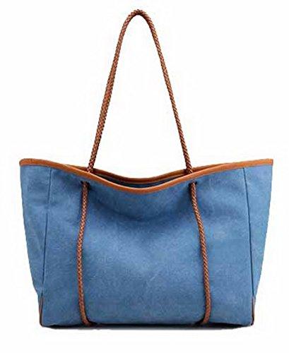 AllhqFashion Mujeres Cremalleras Moda Casual Bolsas de Hombro Bolsas de Mano,FBUBBD180620 Azul