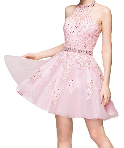 Blevla Sleeveless Halter Lace Appliques Beading Bodice Satin Short Prom Gown Homecoming Dress Pink US 26 Plus by Blevla