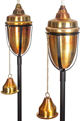 (H Potter Copper Torches Rustic Patio Outdoor Garden Torch Set of Two)