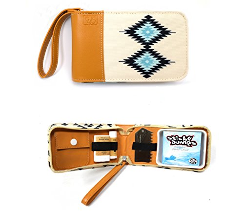 Surf Kit - A Great Surfer Gift & Surf Accessory that Holds your Sticky Bumps Wax, Organic Sunscreen Face Stick, All Natural Lip Balm, and Wax Scraper! All in a Stylish Navajo Design Surf Wax Holder!