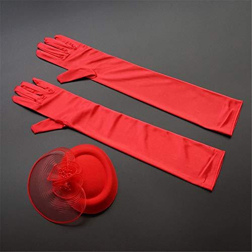 Rojo Fiesta Anuncios Guantes Baile Guante de Boda cm 51 Rojo Etiqueta raso p1qwp8