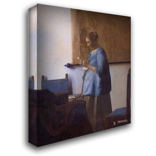 Woman Reading A Letter (Woman in Blue Reading A Letter) 20x22 Gallery Wrapped Stretched Canvas Art by Johannes Vermeer (Woman In Blue Reading A Letter Vermeer)